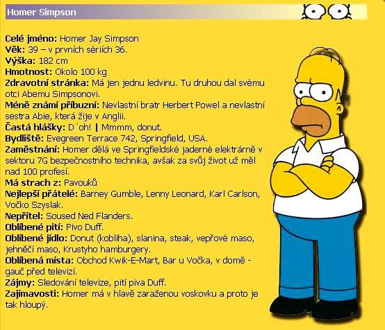 Vítejte na Simpsonovi.cz - Homer Simpson - ŽIVOTOPIS Homera